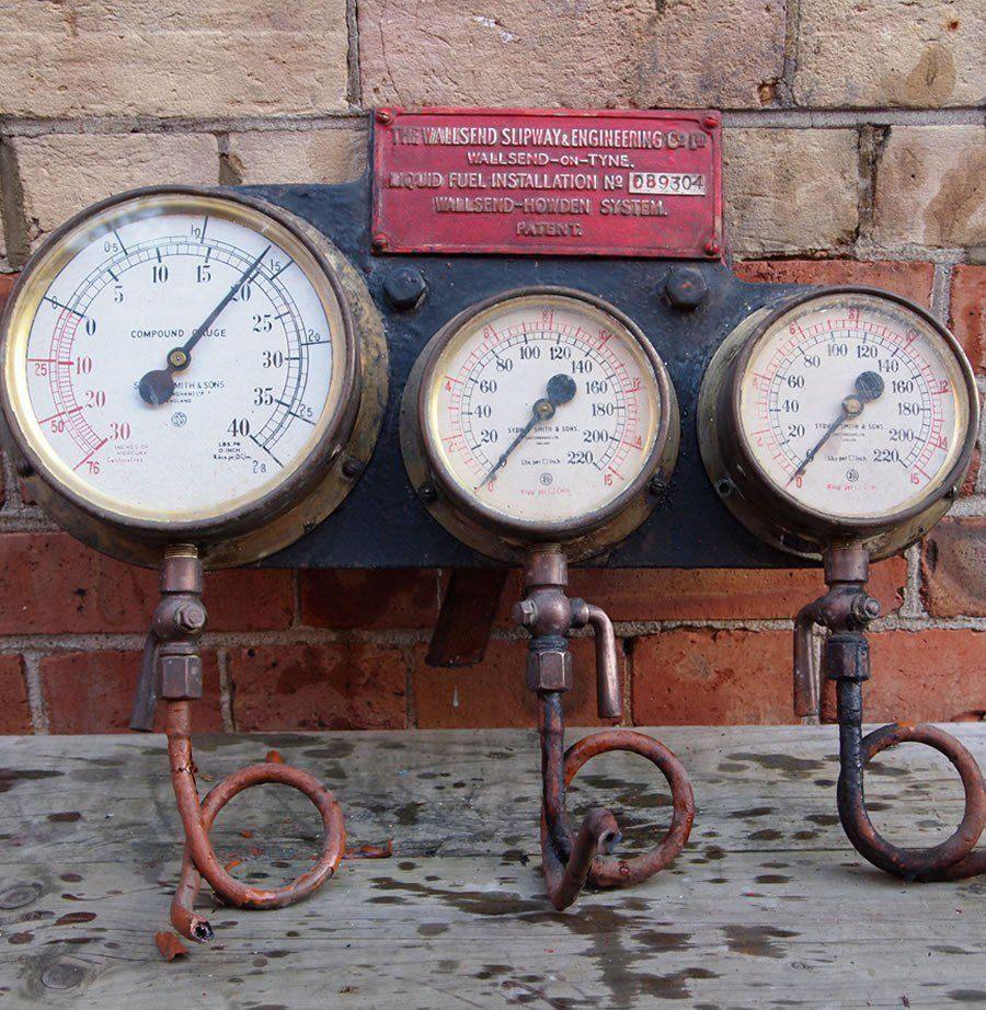Set of vintage industrial gauges