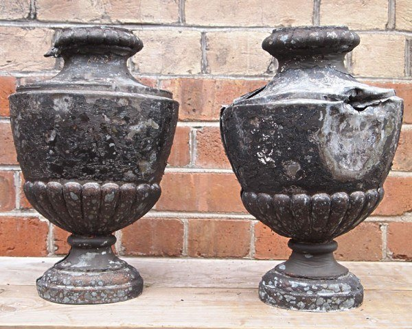 Antique zinc urns