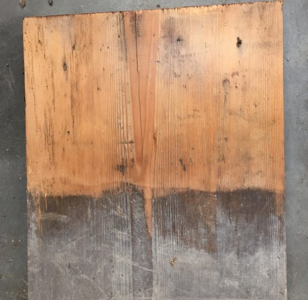 210mm reclaimed floorboard (lightly sanded section)