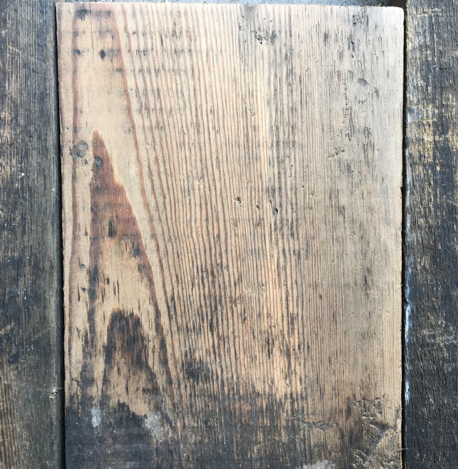 Reclaimed 150mm roofboards (lightly sanded section)