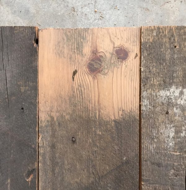 Reclaimed 130mm roofboard (lightly sanded section)
