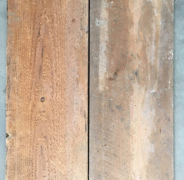 Re-sawn reclaimed boards (rear of boards)