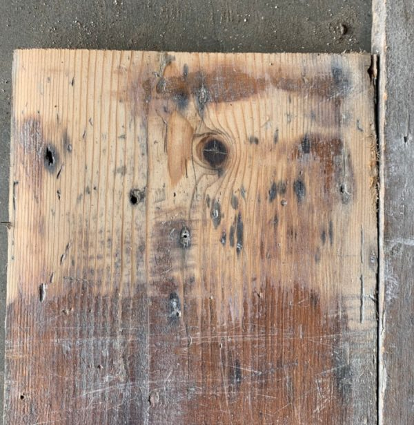 Reclaimed 215mm floorboards (lightly sanded section)