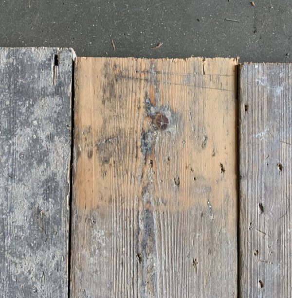 Reclaimed 155mm floorboards (lightly sanded section)