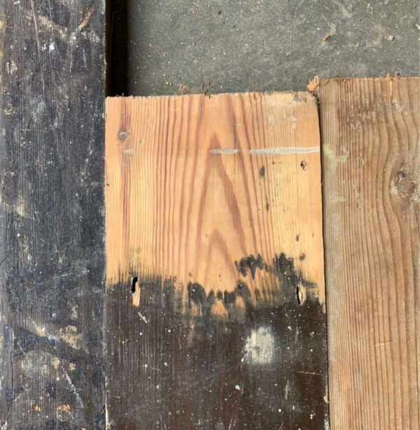 Reclaimed floorboards 120mm (lightly sanded section)