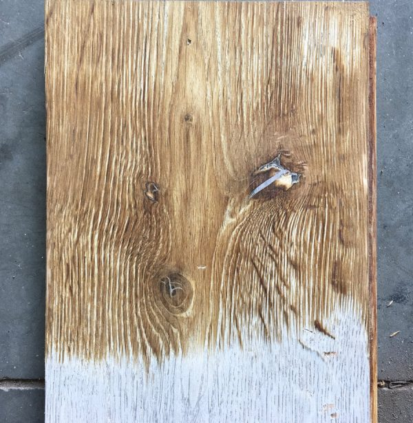 Reclaimed oak boards (lightly sanded section)