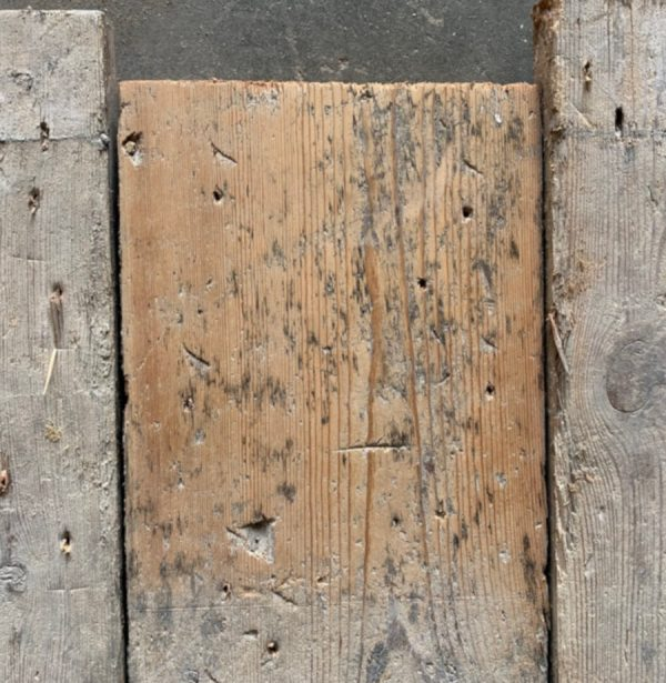 Reclaimed pine floorboards 170mm (lightly sanded section)