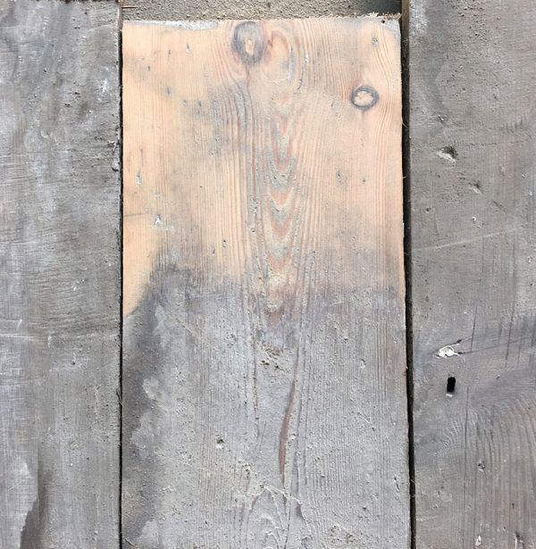 137mm reclaimed floorboards (lightly sanded section)