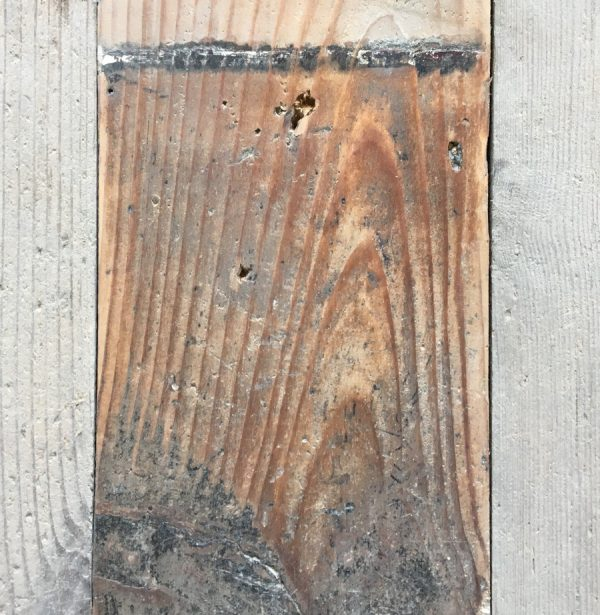 Reclaimed 132mm floorboard (lightly sanded section)