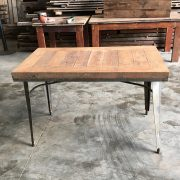 Reclaimed timber table with metal legs