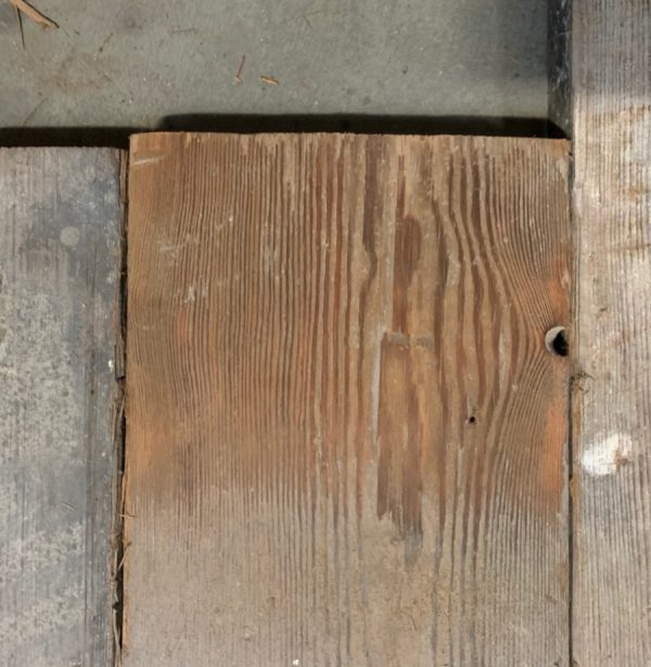 Reclaimed floorboard 165mm (lightly sanded section)