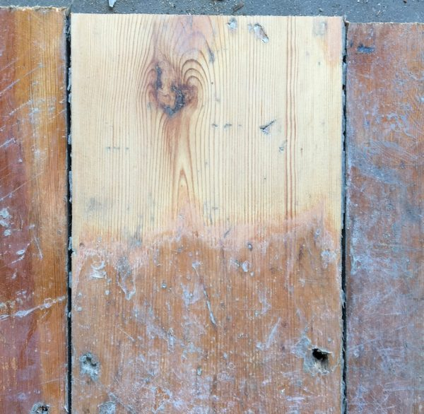 Reclaimed floorboards 137mm (lightly sanded section)