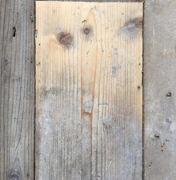 Reclaimed pine floorboards 125mm (lightly sanded section)