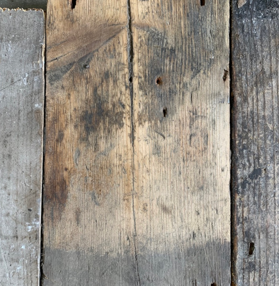 Reclaimed 145mm floorboards (lightly sanded section)
