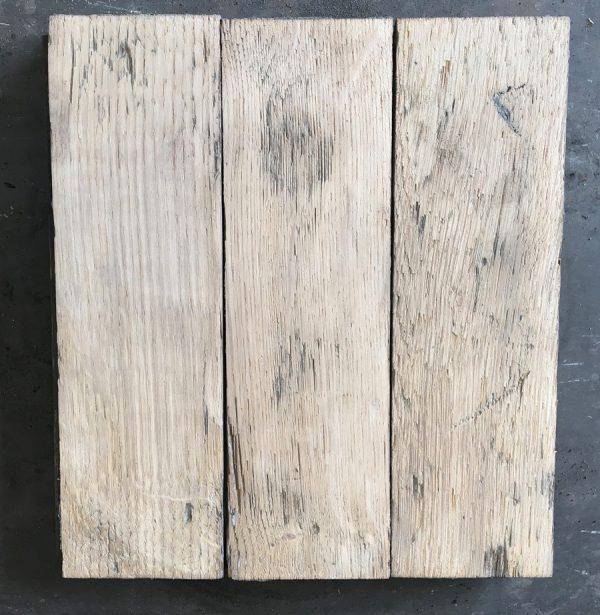 Reclaimed oak parquet (lightly sanded).