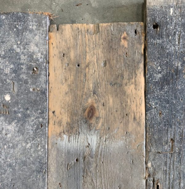 Reclaimed 160mm floorboards (lightly sanded section)