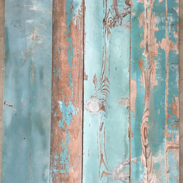 Reclaimed blue painted timber cladding