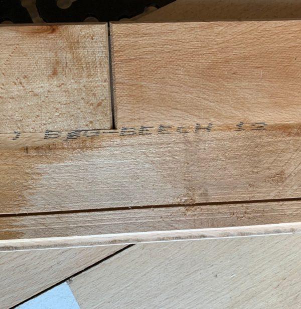 Reclaimed beech gym flooring (Rear of boards)