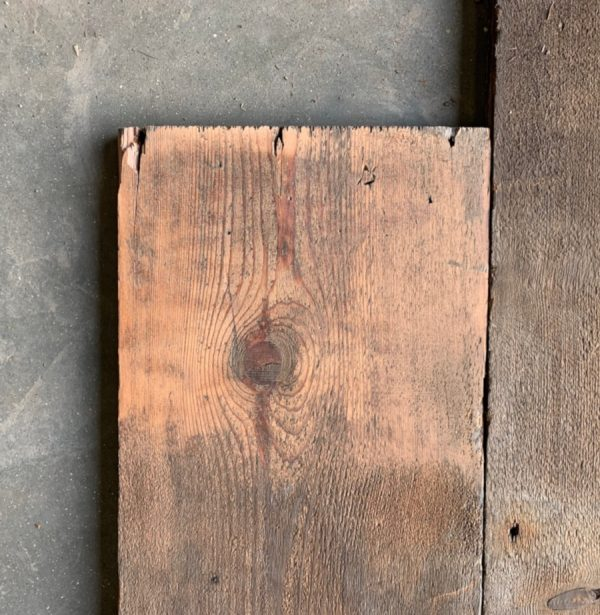 Reclaimed wide roof boards (lightly sanded section)