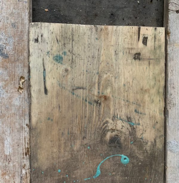 Reclaimed spilt scaffold board (lightly sanded section)