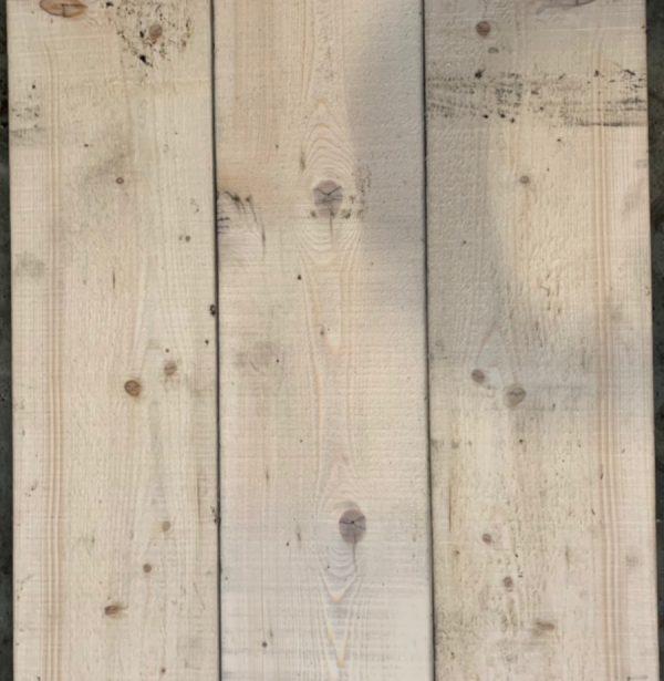 Reclaimed spilt scaffold board (rear of boards)