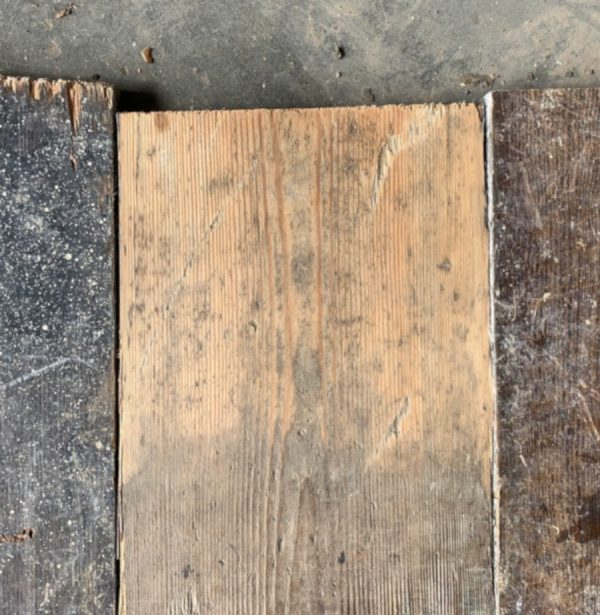 Reclaimed 147mm floorboard (lightly sanded section)