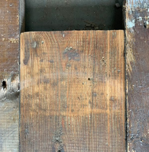 Reclaimed 147mm floorboards (lightly sanded section)