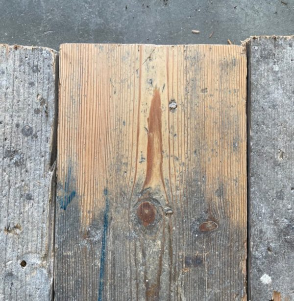 147mm reclaimed floorboards (lightly sanded section)